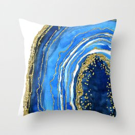 Cobalt blue and gold geode in watercolor (2) Throw Pillow