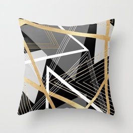 Original Gray and Gold Abstract Geometric Throw Pillow