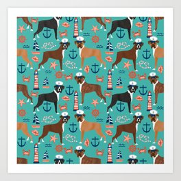 Boxer nautical sailor costume custom pet portrait dog breeds by pet friendly boxers dogs Art Print