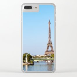 Statue of Liberty and Eiffel tower - Paris, France Clear iPhone Case