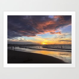 sunset over rainbow bay Art Print