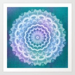 White Mandala on Teal, Purple and Navy Art Print