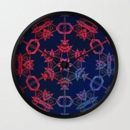 Blue and red glow tribal mandala Wall Clock
