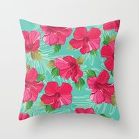 hibiscus Throw Pillows featuring Hibiscus by Julscela