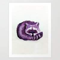 raccoon Art Prints featuring raccoon by carrie booth