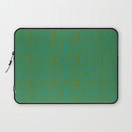Doors & corners op art pattern in olive green and aqua blue Laptop Sleeve