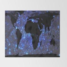 World Map : Blue Galaxy Stars Throw Blanket