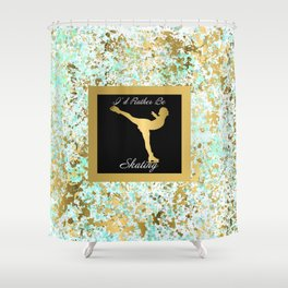 Figure Skating I Would Rather Be Skating- Mint and Gold Splatter Paint Design Shower Curtain