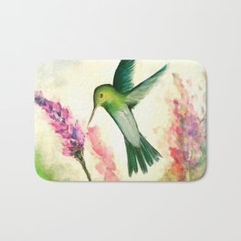 Hummingbird & Lupine watercolor Bath Mat