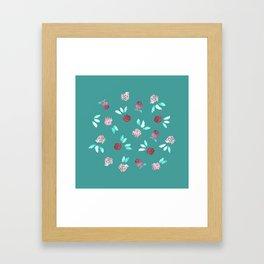 Clover Flowers on Mint Green Framed Art Print