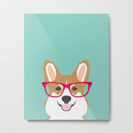 Teagan Glasses Corgi cute puppy welsh corgi gifts for dog lovers and pet owners love corgi puppies Metal Print