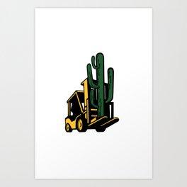 Forklift Truck Lifting Cactus Plant Retro Art Print