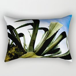 Large Giant Green Aloe Plant with Bright Blue Sky Rectangular Pillow