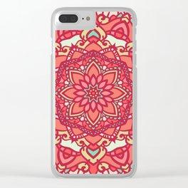 Crimson mandala Clear iPhone Case