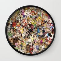 cartoon Wall Clocks featuring Cartoon Collage by Myles Hunt