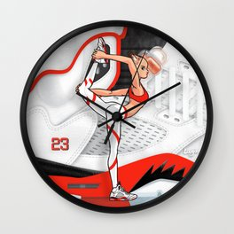 """Yoga girl Cool Noodle and """"Fire Red"""" Wall Clock"""