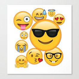 Emoji Pack ComboT-shirt Emoticon Smily Face Tshirt Canvas Print
