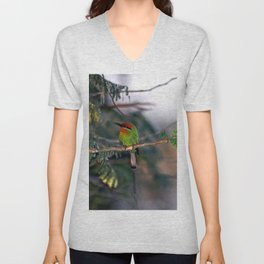 African Tropical Colorful Bird Perched on Tree Unisex V-Neck