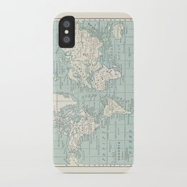 World Map in Blue and Cream iPhone Case