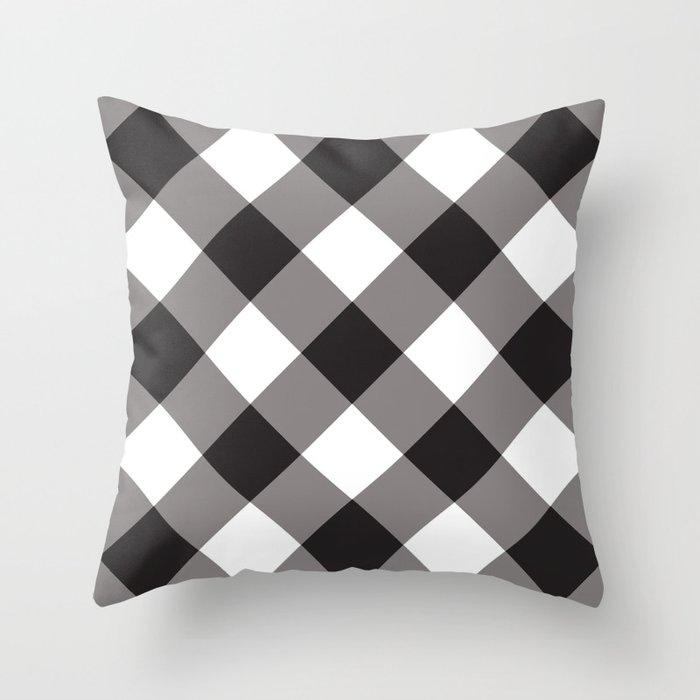 Gingham - Black Throw Pillow