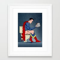 superheros Framed Art Prints featuring Superhero On Toilet by WyattDesign