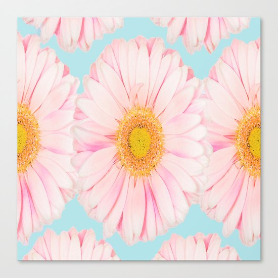 Pink summer flowers on a turquoise background - summer mood Canvas Print