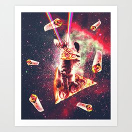 Space Cat Eating Pizza - Rainbow Laser Eyes, Burrito Art Print