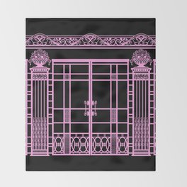 ART DECO, ART NOUVEAU IRONWORK: Pink on Black Throw Blanket