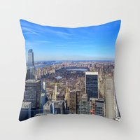 central park Throw Pillows featuring Central Park by Christine Workman