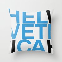helvetica Throw Pillows featuring Helvetica  by Mackaays