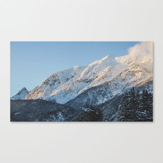 Snow on the mountains. Canvas Print