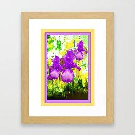 Fuchsia-White bearded Iris Yellow Color Abstract Framed Art Print