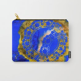 Royal Blue and Gold Abstract Lace Design Carry-All Pouch