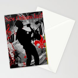 New Orleans Jazz Saxophone And Piano Music Stationery Cards