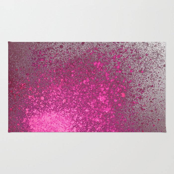 Pink and Grey Spray Paint Splatter Rug