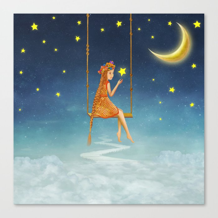 The lovely girl shakes on a swing , illustration art Canvas Print