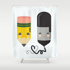 Pencil and Sharpie Buds Shower Curtain