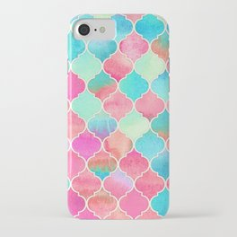 Watercolor Moroccan Patchwork in Magenta, Peach & Aqua iPhone Case