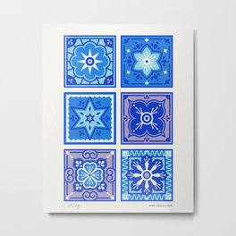 Talavera Mexican Tile – Blue Palette Metal Print