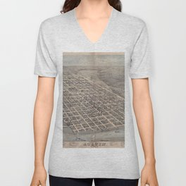 Vintage Pictorial Map of Austin Texas (1873) Unisex V-Neck
