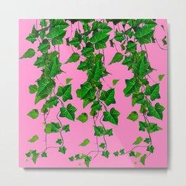 GREEN IVY HANGING LEAVES & VINES ON PINK Metal Print