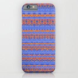 Blue and Orange Patterned Stripes iPhone Case