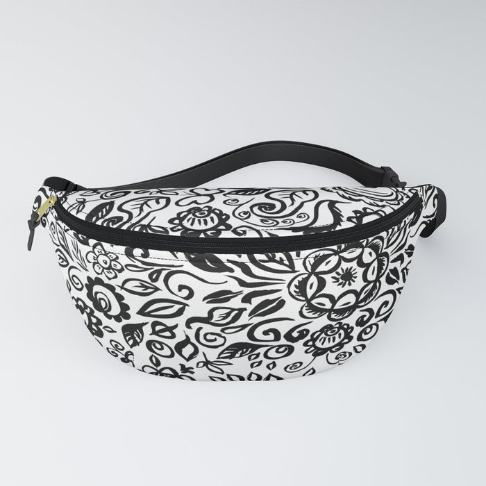 Vintage folk art floral ornament Black flowers on white background Fanny Pack