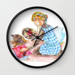 A girl with a kitten vol.2 Wall Clock