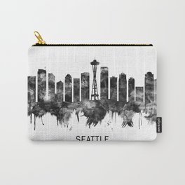 Seattle Washington Skyline BW Carry-All Pouch