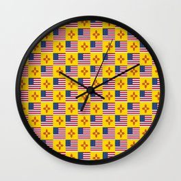 Mix of flag : USA and new mexico Wall Clock
