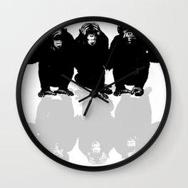 3 Monkeys Wall Clock