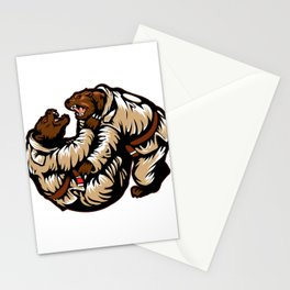 Two bears fighting. Karate Bear Stationery Cards