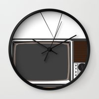 tv Wall Clocks featuring Television by Jarom Ward