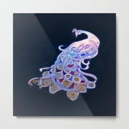 Unique White Peacock Metal Print